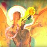 Warm toned oil painting of a man blowing a trumpet created by Jon Wilhelm called KING OF KINGS