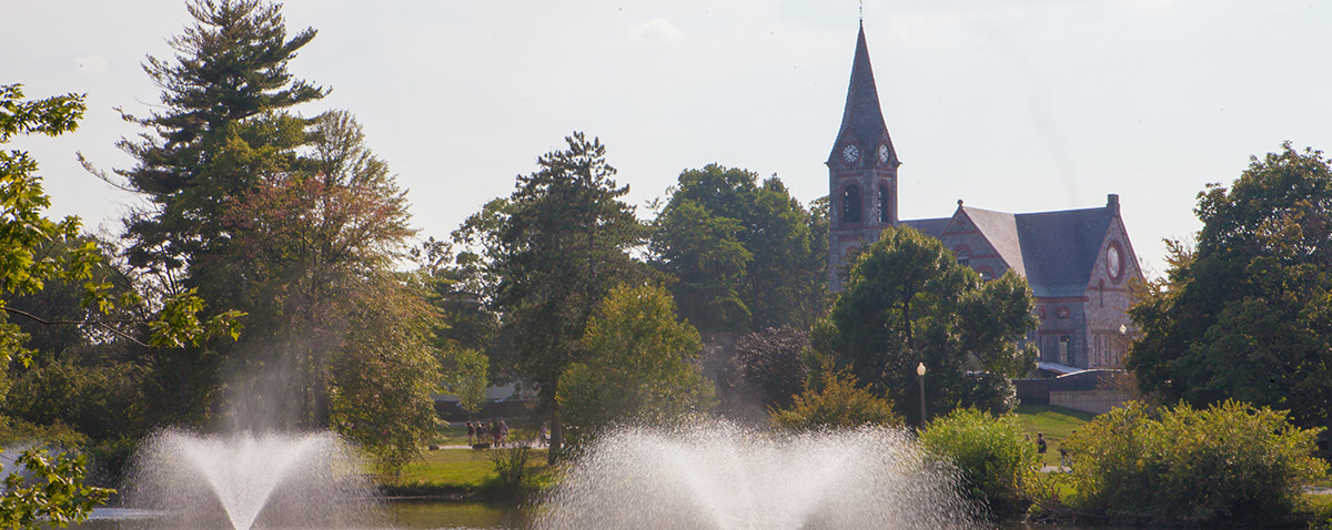 Old Chapel and Campus Pond