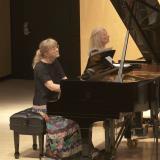 Nadine Shank (left) performing with Estela Olevsky