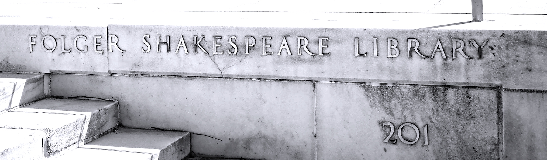 An image of the Folger Shakespeare Library name emblazoned on stone steps