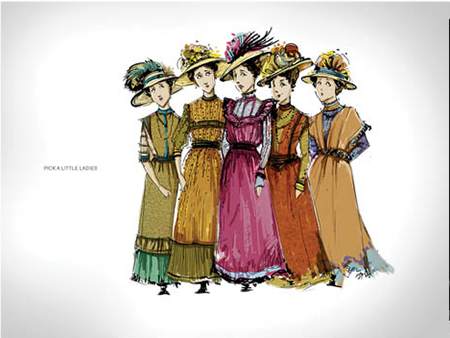 Yao Chen's costume rendering for the Pick a Little Ladies from The Music Man.